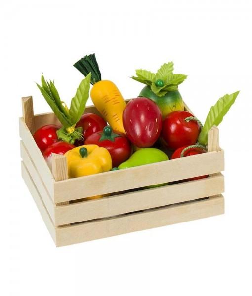 købmandskasse blandet frugt og grønt