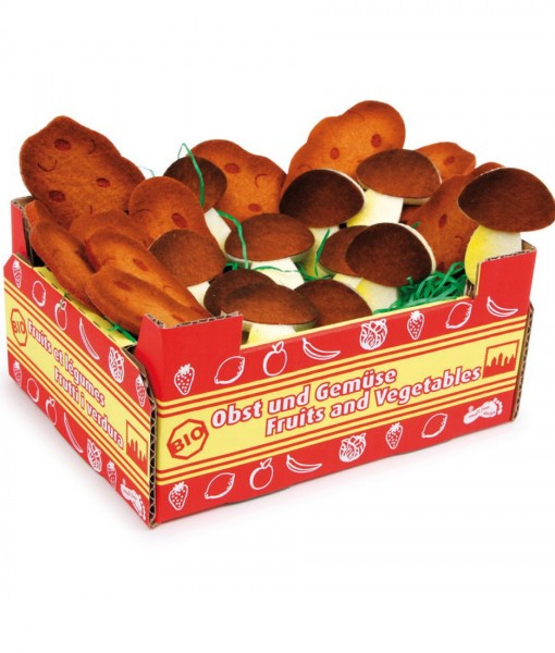 kasse med kartoflerog champingnon