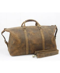 dufflebag leather vintage brass