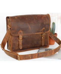 medium læder skoletaske