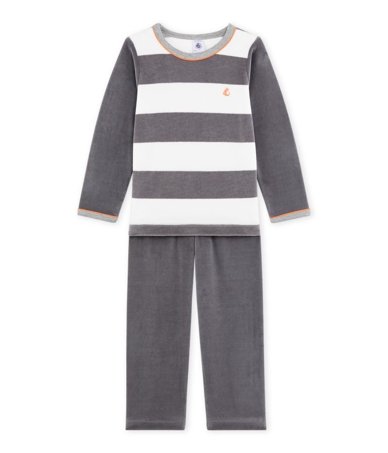 bdd115b907c 93: Petit Bateau nattøj i blød velour med striber - unisex - Little ...