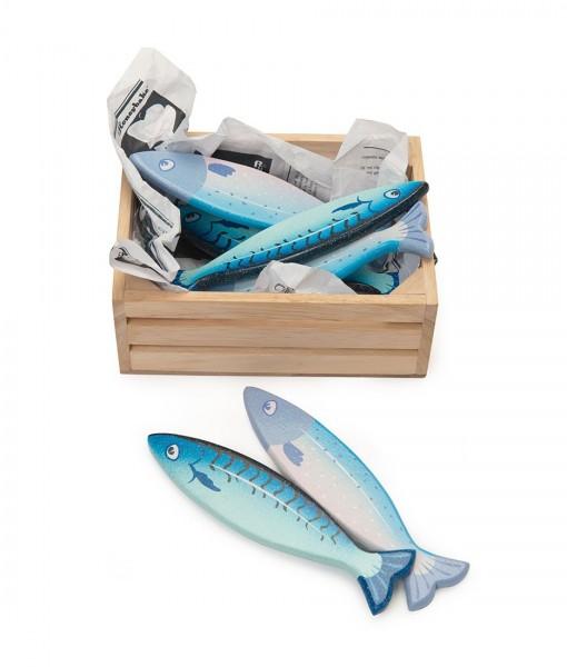 købmandskasse med fisk